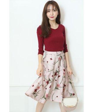 シックフラワープリントスカート