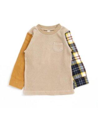 袖切り替えワッフルTシャツ