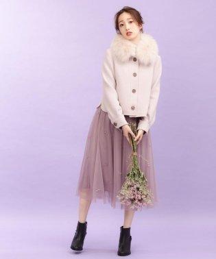 ビーズ刺繍チュールスカート