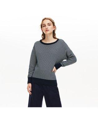 チェックジャカードボートネックセーター