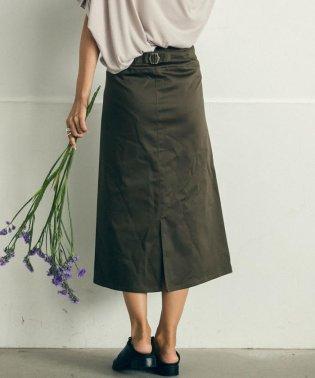 【socolla】綿ストレッチバックル付きベイカースカート