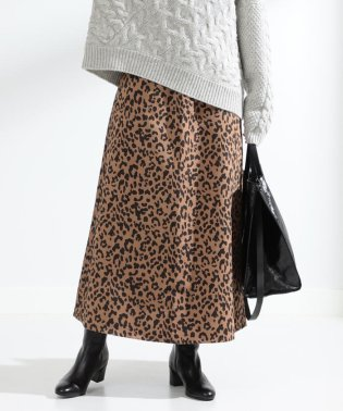 Ray BEAMS / フェイク スエード レオパード柄 マキシ スカート
