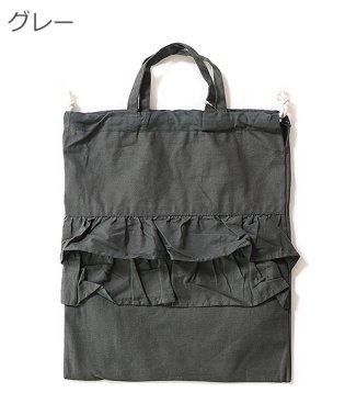 フリル付き巾着バッグ