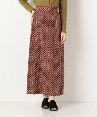 A-小紋柄ロングセミフレアスカート