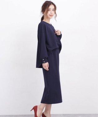 【WEB限定】カットジョーゼットブラウス+ストレートスカートセットアップ