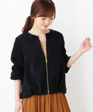 ツイルノーカラー裾タックブルゾン