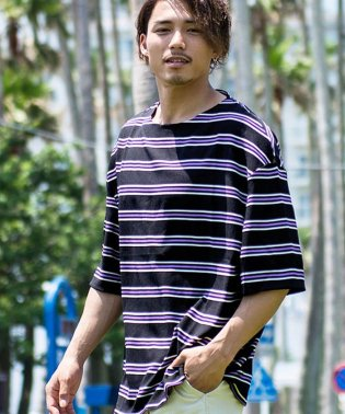 CavariA【キャバリア】ボーダー柄ビッグシルエットクルーネック半袖Tシャツ