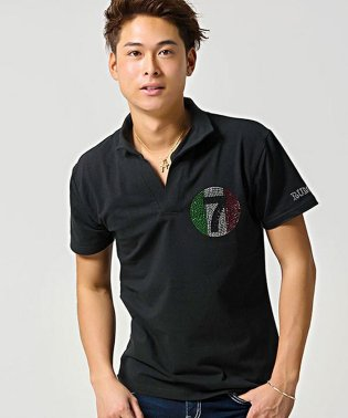 CavariA【キャバリア】ラインストーン付きイタリアンカラー半袖ポロシャツ