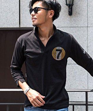 CavariA【キャバリア】天竺編みラインストーン付きイタリアンカラー7分袖ポロシャツ