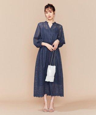 【PRIER】前あきレースロングワンピース ドレス