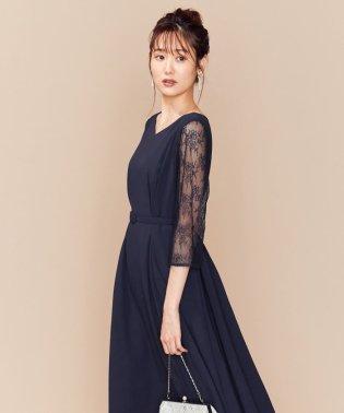 【PRIER】レーススリーブロングF&F ドレス