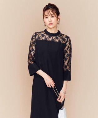 【PRIER】レーススリーブサックワンピース ドレス