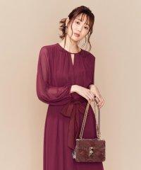 【PRIER】BIGリボンギャザーロングワンピース ドレス