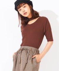 WEGO/チョーカー5分袖リブTシャツ