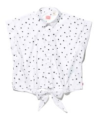 KNOTTED S/S SHIRT WHITE GROUND W/BLACK