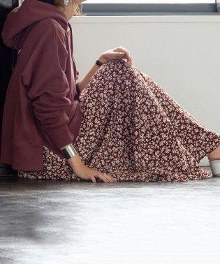 【新色:ネイビー登場】プリントタックロングスカート