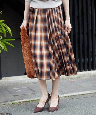 【洗える/セットアップ対応】オンブレーチェックプリーツスカート
