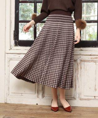 【WEB別注】《手洗い可能》千鳥チェック柄ジャガードロングニットスカート