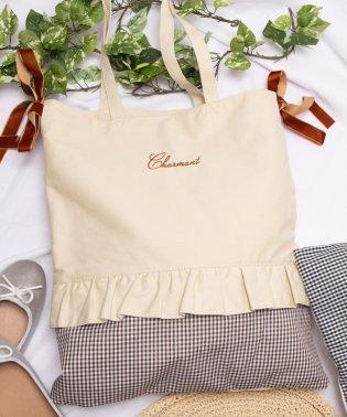 WEGO/サイドリボンロゴ刺繍フリルトートバッグ