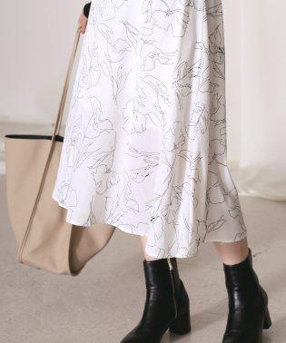 〈2019AW新作〉繊細な柄で合わせやすい◆アートフラワーフレアスカート