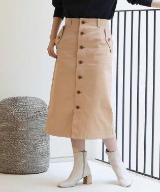 コットンツイル フロントボタンタイトスカート