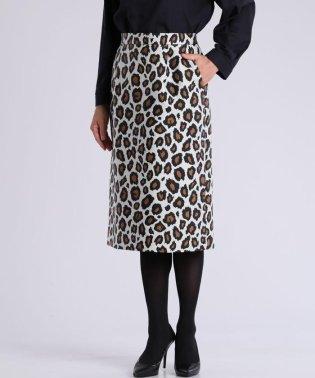 レオパード柄ジャガードタイトスカート