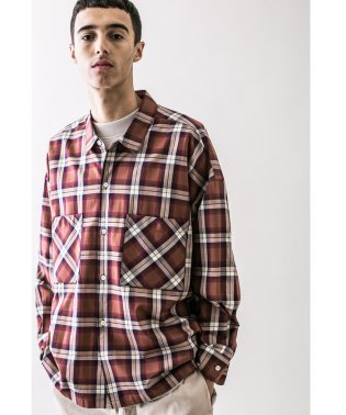<monkey time> CLEAR TWILL CHECK WIDE SHIRT/ワイドシャツ