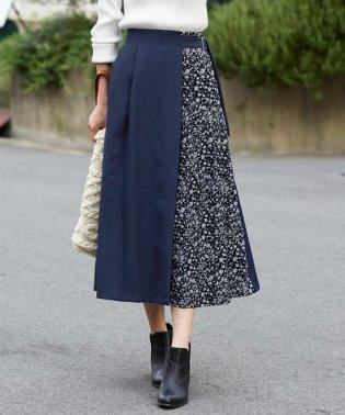 ツイル×花柄切替えスカート