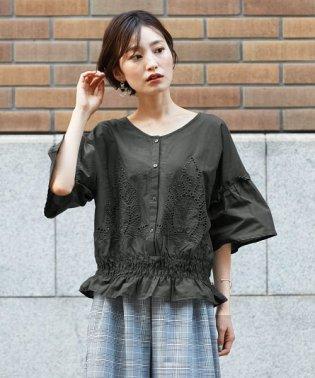 裾シャーリング 刺繍ブラウス
