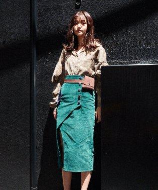 配色ポケットスリットタイトスカート
