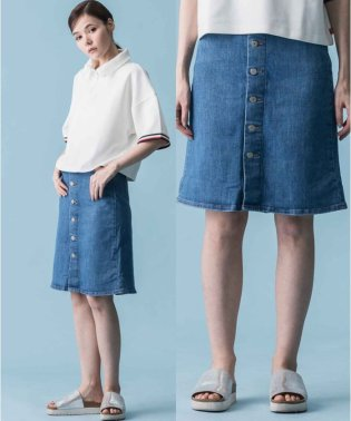 A LINE MIDI BUTTON SKIRT MIDSUMMER'S DRE