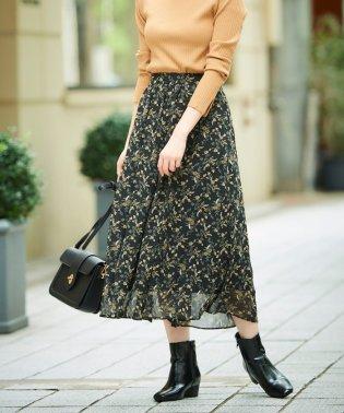 フラワープリントウエストギャザースカート