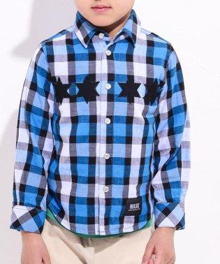星パッチチェックシャツ(140cm~160cm)