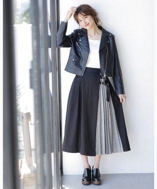 サイドベルトチェック柄プリーツ切替/スカート