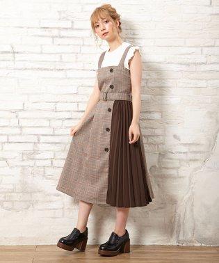 サイド釦チェック柄プリーツ切替/ジャンパースカート