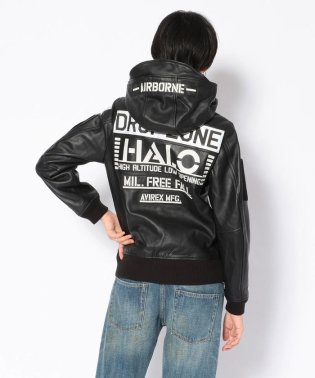 ウイメンズ レザー フーディー ハロ/LEATHER HOODIE HALO【Avirex Military Camp】