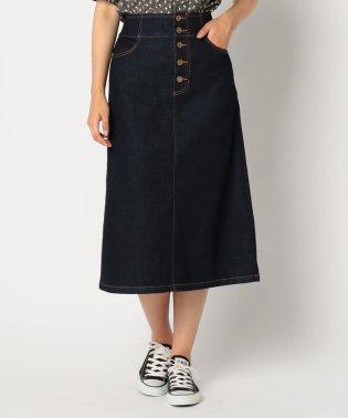 デニム前ボタンミディ丈スカート