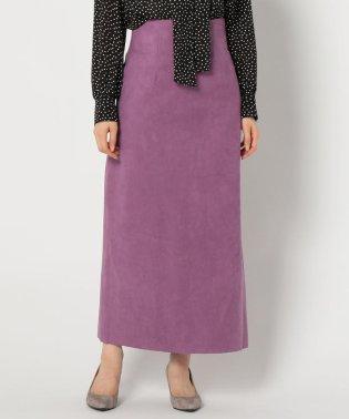 人工皮革タイトロングスリットスカート