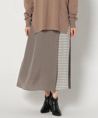 小紋&ベルト柄マキシスカート