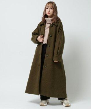 ヘリンボーンステンカラー袖タックコート