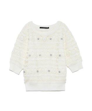 [L.B CANDY STOCK]透かし編み半袖ニットプル