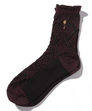 バラ刺繍オーナメント柄靴下