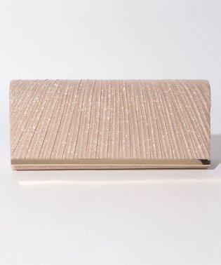 ラメ素材×フラット金具プリーツパーティークラッチバッグ