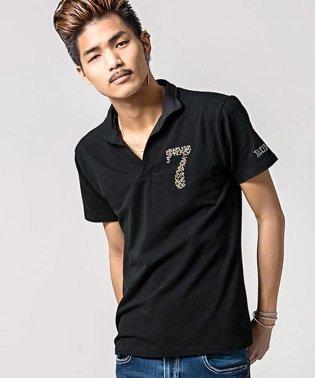 CavariA【キャバリア】ラインストーン付きベア天竺イタリアンカラー半袖ポロシャツ