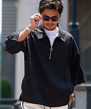 VICCI【ビッチ】ビッグシルエットハーフジッププルオーバー半袖シャツ