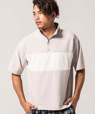 VICCI【ビッチ】ハーフジップ切替スタンドカラー半袖ポロシャツ