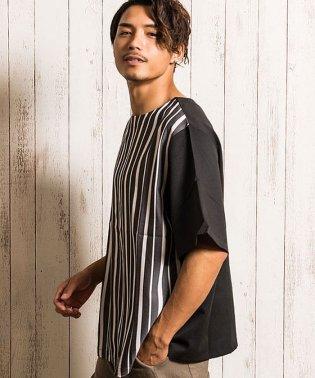 VICCI【ビッチ】2WAY無地ストライプ柄マルチフロントネック半袖Tシャツ