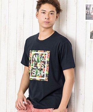 VICCI【ビッチ】ボタニカル柄デザインプリントクルーネック半袖Tシャツ