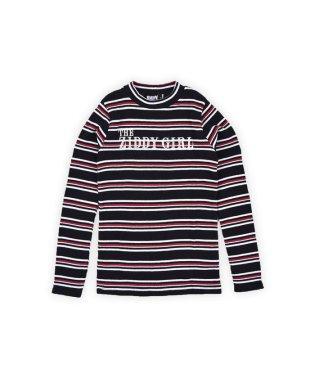 【ニコプチ掲載】マルチボーダーリブショートネックTシャツ