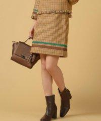 《セットアップ対応》カラフル千鳥チェック裾配色台形ミニスカート